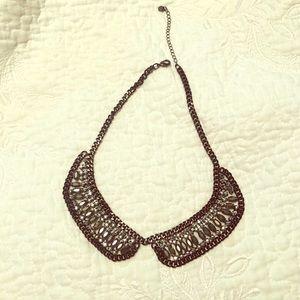 LOFT rhinestone studded bib collar necklace